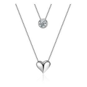 Collar Mujer Colgante Plata 925 Cadena Corazón Promesa Amor