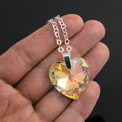 collar mujer corazon swarovski gigante cadena plata 925