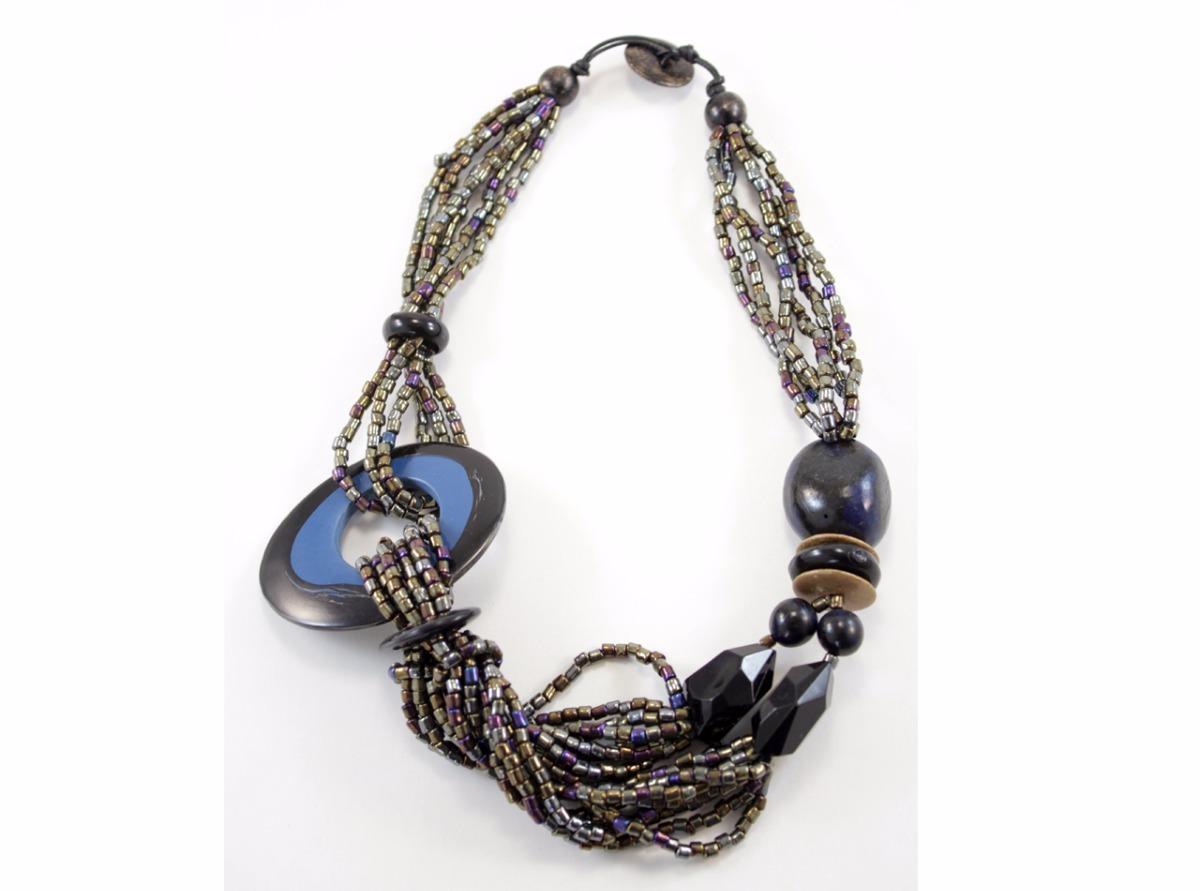 82902dabec48 collar mujer gris y azul con canutillos accesorios moda. Cargando zoom.