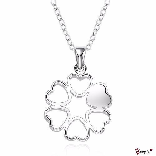 collar mujer plata (trébol de corazones)