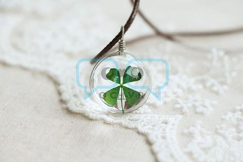 collar mujer trébol 4 hojas real en esfera de cristal qchvr