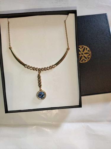 collar nice para dama con piedras de cristal y medalla azul