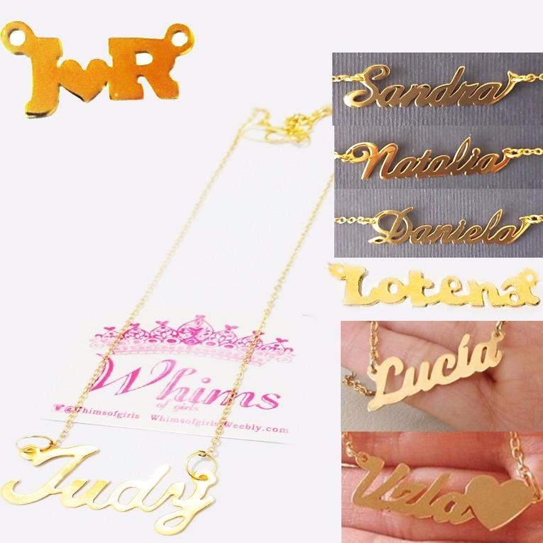 Collar Nombre Personalizados Baño De Oro Sin Cadena - Bs. 13.890 675f4e27559b