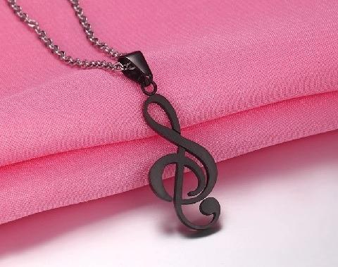collar nota musical sol moda titanium