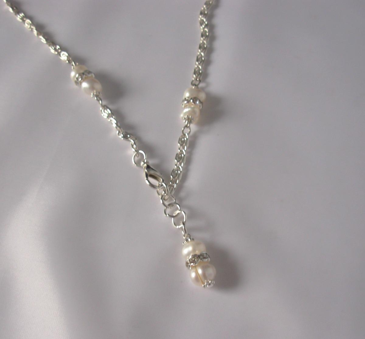 273b3598ee4c collar novias perlas naturales cultivadas y strass acero. Cargando zoom.