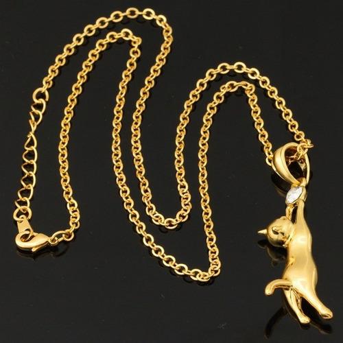 collar oro 18k gf dama, gato y piedra, gran calidad!