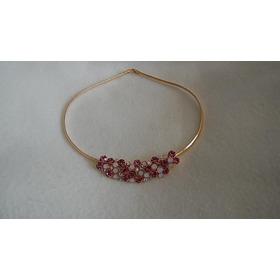 Collar Oro 18kt Enchapado Swarovski Exclusivo Rubie Y Opal