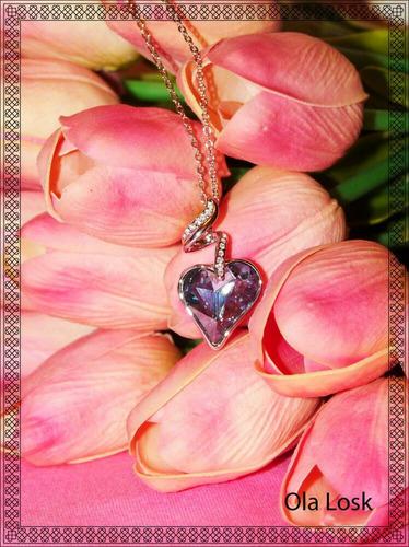 collar oro lam. 14k con cristal swarovski color púrpura