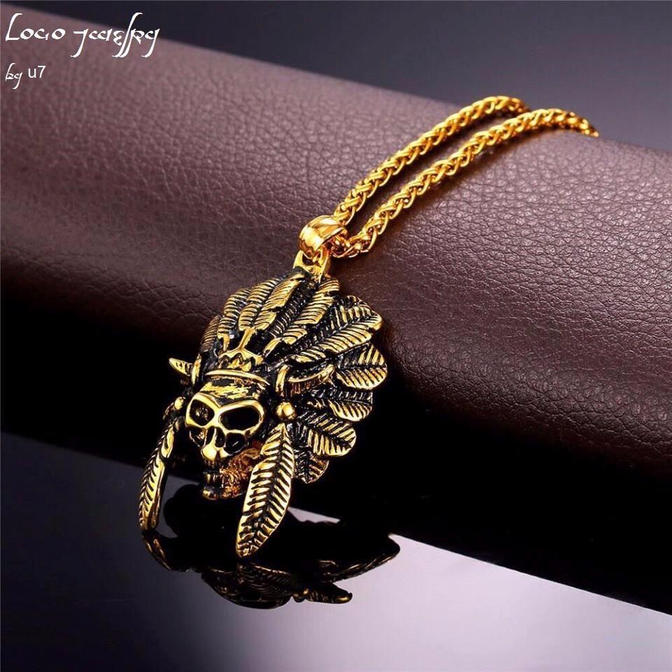 Collar Oro Penacho Indio Hombre Mujer Pareja Cadena Dije - $ 584.00 ...