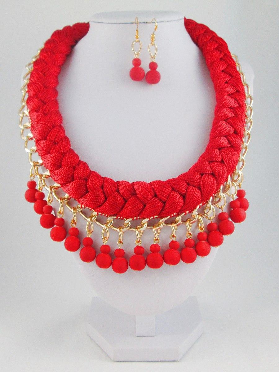Collar Para Dama, Collares De Moda, Bisuteria Fina, Rojo