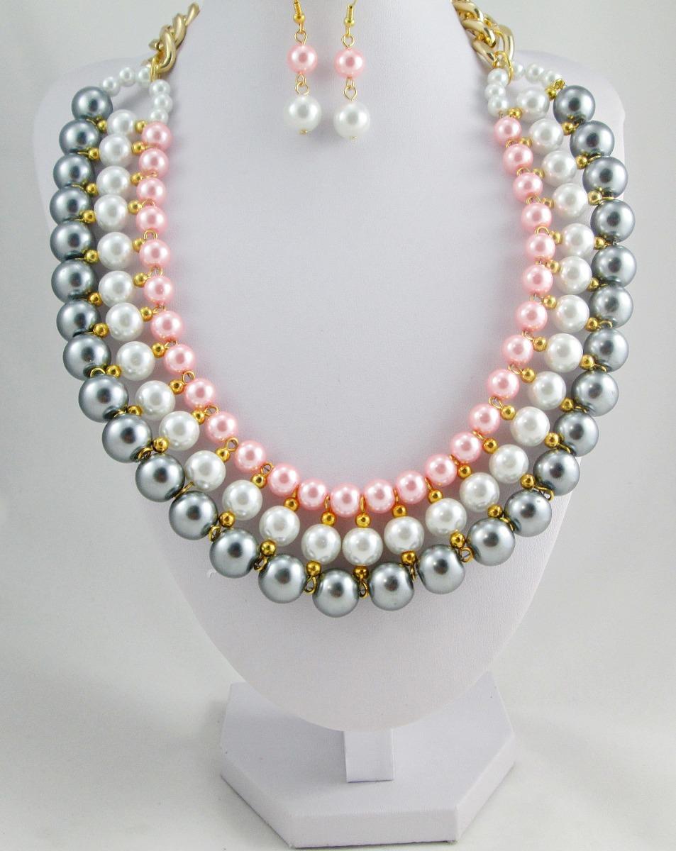 63b159062d3e collar para dama de perlas blanca rosa y gris bisuteria fina. Cargando zoom.