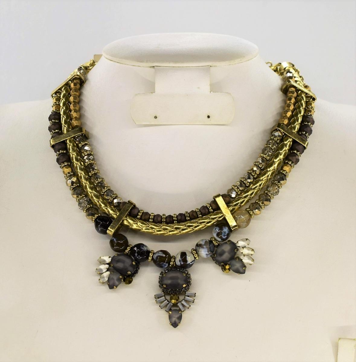 95a7fd192e86 Collar Para Dama Metálico Piedra Bisutería Moda Importada -   399.00 ...