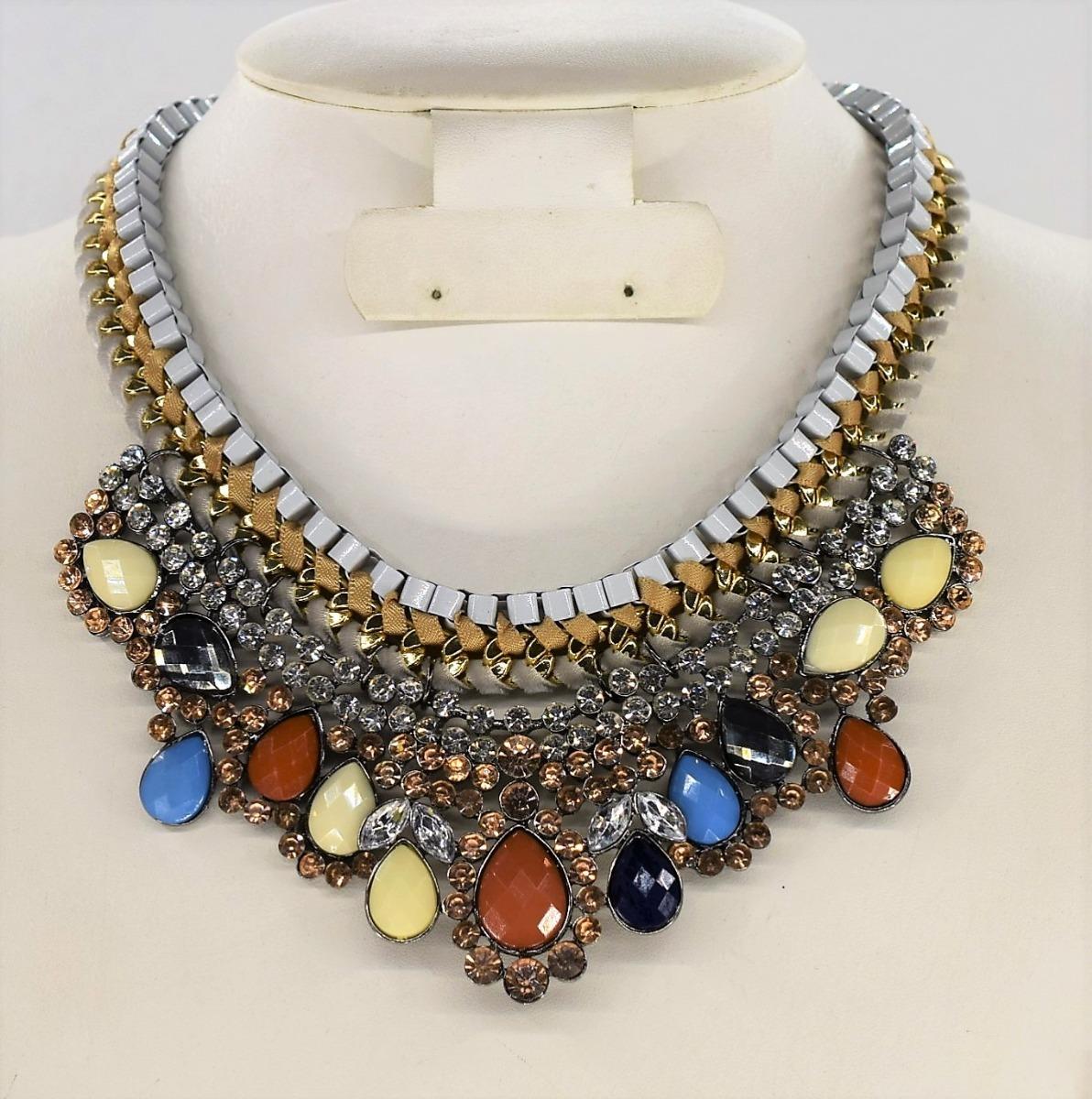 fbf5bd0760a1 Collar Para Dama Metálico Piedras Bisutería Moda Importadas ...