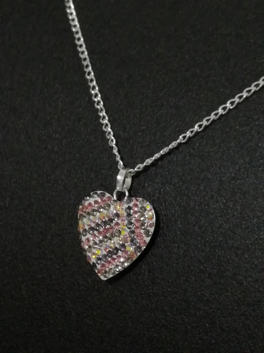 13c8ea6ef3c4 collar para mujer dije corazon de colores plata .925 + envio. Cargando zoom.