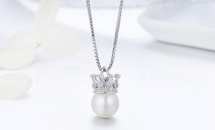 b9cc650d77e4 Collar Para Mujer Dije Perla Corona Fabricado En Plata 925 ...