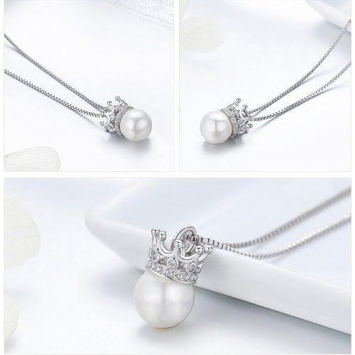 9b2118f6dc3b Collar Para Mujer Dije Perla Corona Fabricado En Plata Sb2 ...