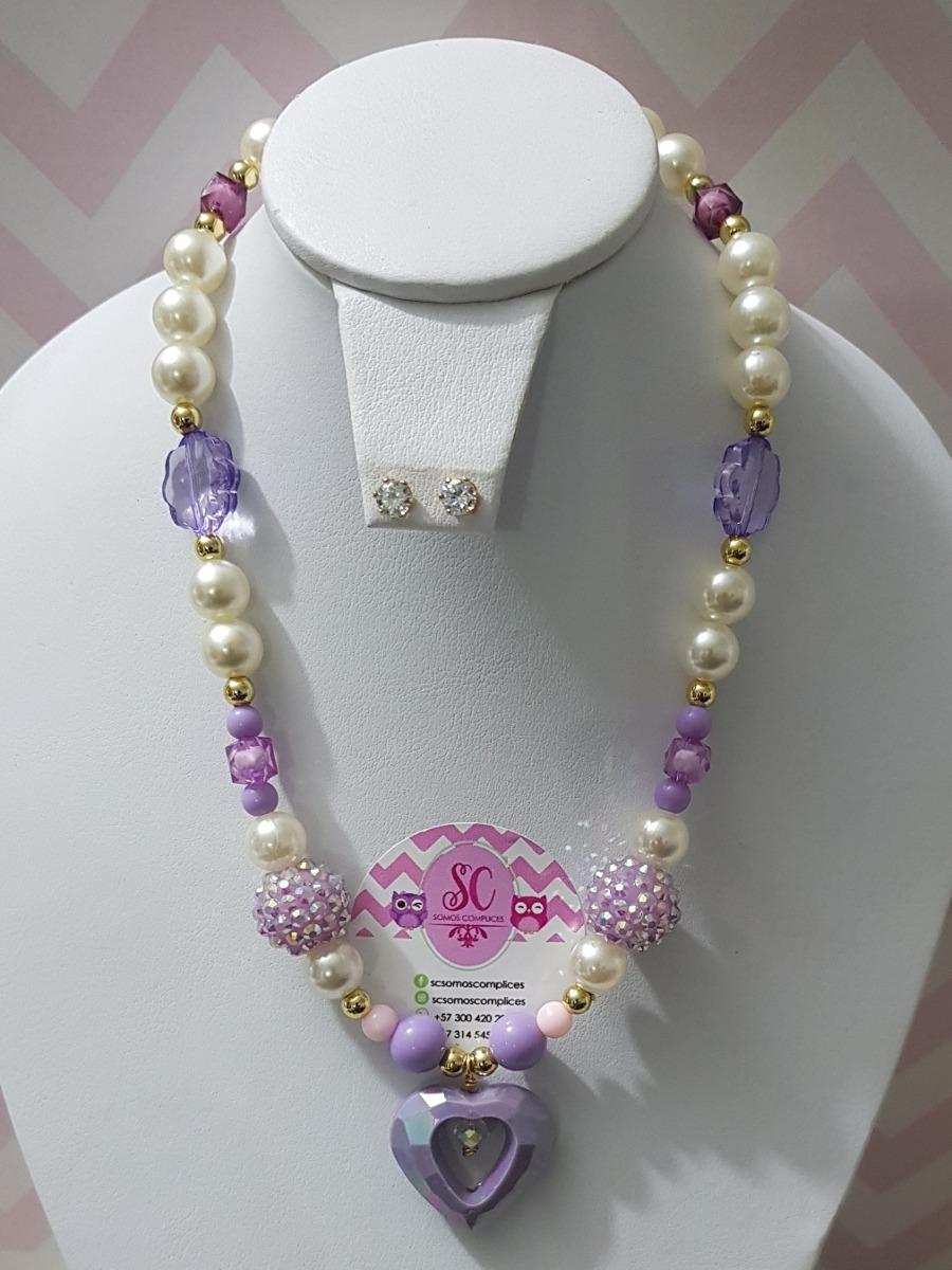 la mejor actitud 837f2 7932f Collar Para Niñas En Perlas Con Aretes