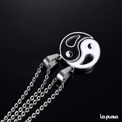 collar pareja/novios ying yang acero