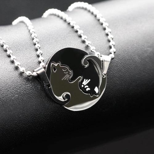 collar parejas acero inoxidable yin yang gato mujer y hombre