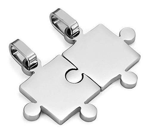 collar parejas diseño rompecabezas - color plata