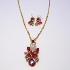 8a8c0e343058 Collar Pasión Rojo + Pulsera Y Aretes Oh Moda Envio Gratis