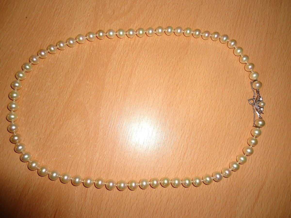 d502f0d4a070 collar perlas antiguo con broche de plata. Cargando zoom.
