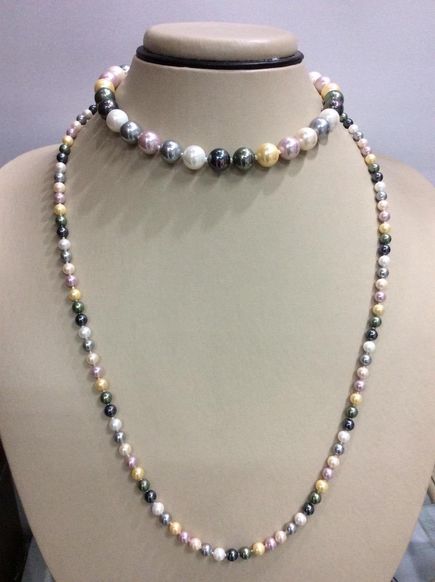 3a54bc9b5b85 collar perlas colores tipo majorica. Cargando zoom.