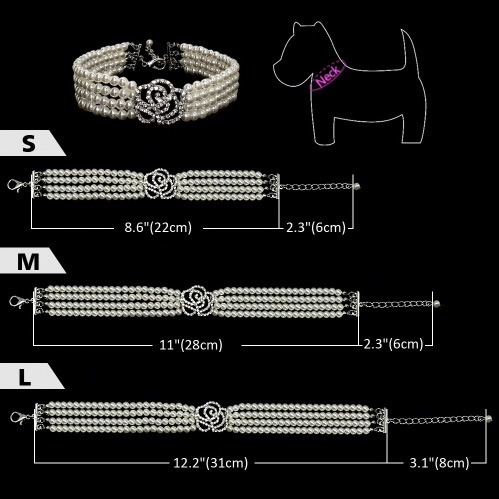 collar perlas con imitación diamantes