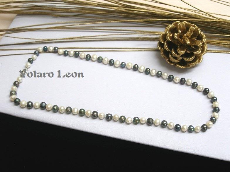 a280a65f9169 Collar Perlas De Río Auténticas Blanco Negro