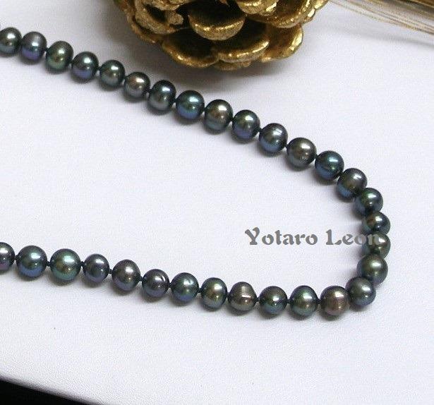 c646a0cfbe7c Collar Perlas De Río Auténticas Negro 20 Pulgadas -   1