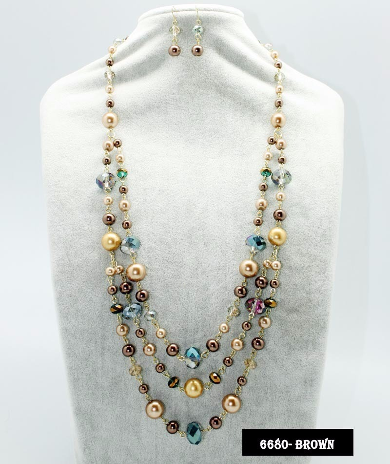 cc51380d1627 Maxi Collar De Perlas Y Cristal Aretes Joyeria Moda Mayoreo ...