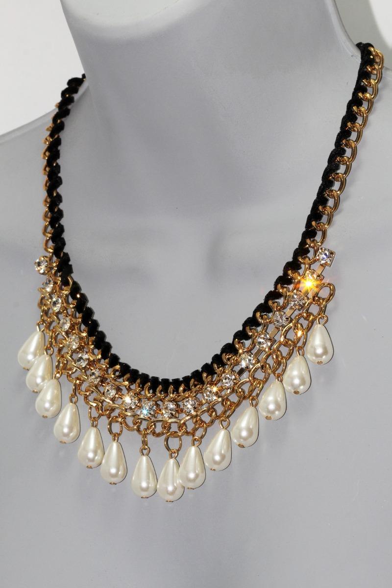 b8f52a638414 Collar Dorado Perlas Cristales Joyeria Mujer Elegante Cc37 ...