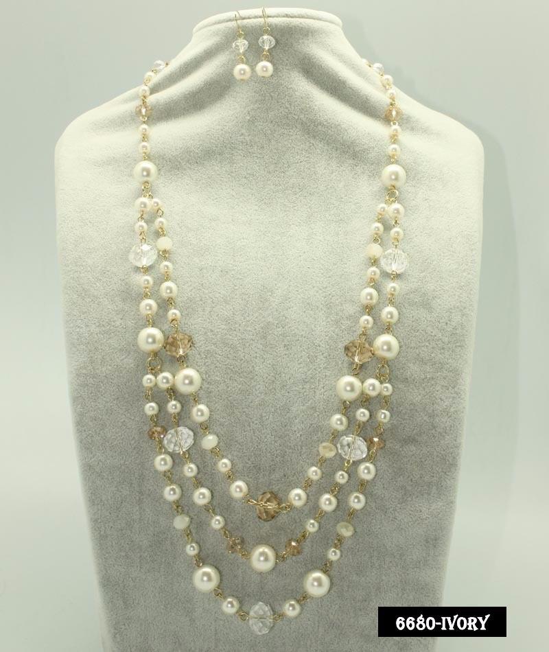 8db7c77e21eb 4 Maxi Collar De Perlas Y Cristal Aretes Joyeria Mayoreo -   699.00 ...