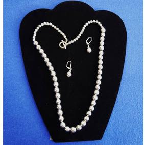 9ec3c0548014 Collar Perlas Metalicas Broche De Aro Juego De Aretes