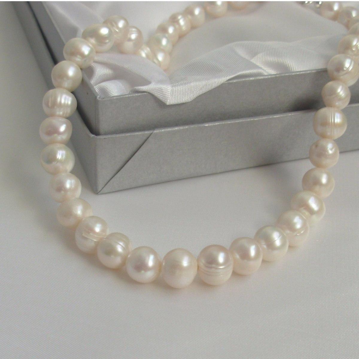 sitio oficial elige el más nuevo diseño de moda Collar Perlas Naturales Cultivadas Y Plata Cierre Marinero