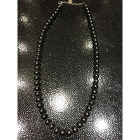 Collar Perlas Negro Con Cadena Y Dije