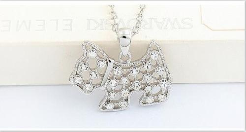 collar perrito plateado cristales zirconia n-234