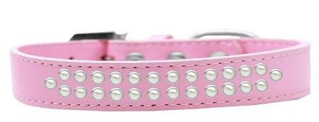collar perro rosa luz dos hileras de perla tamaño 14