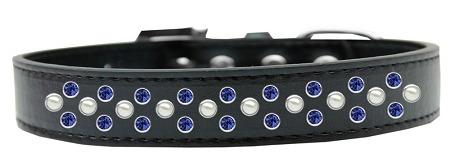 collar perro sprinkles perla y cristales azul tamaño 16 neg