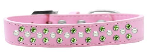 collar perro sprinkles perla y cristales de rosa verde lima