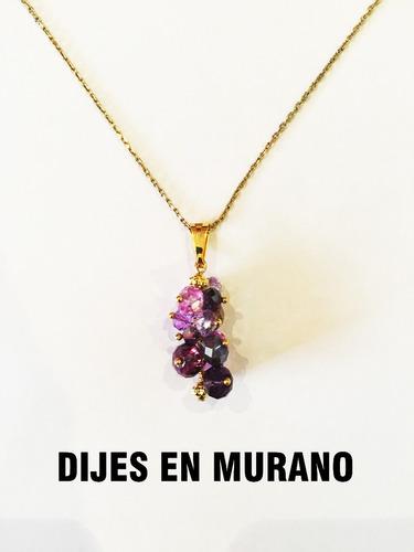 collar piedra murano mujer cadena dije regalo oro gf