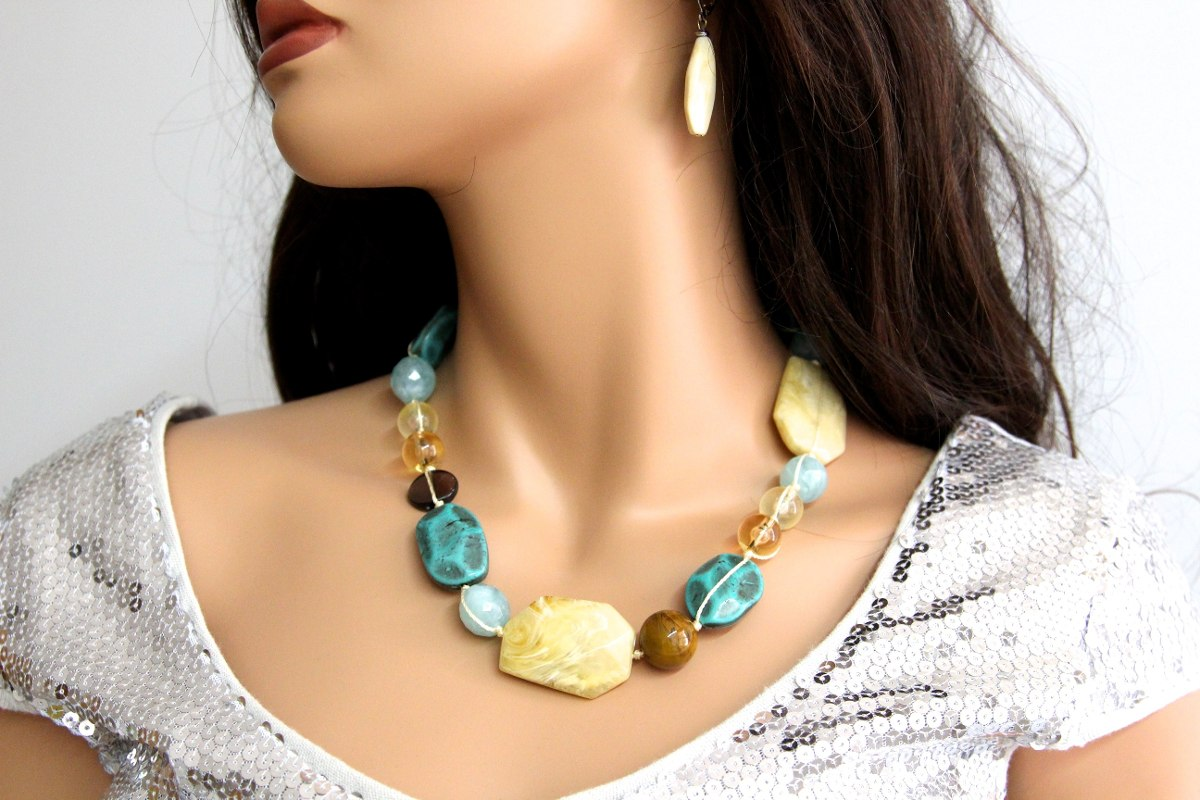 Collar piedras naturales y cord n pulsera aretes erica lyons en mercado libre - Tipos de piedras naturales ...
