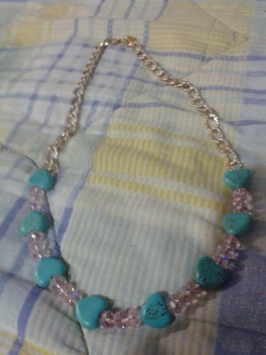 collar piedras turquesa c/cristal swarosky, nuevo