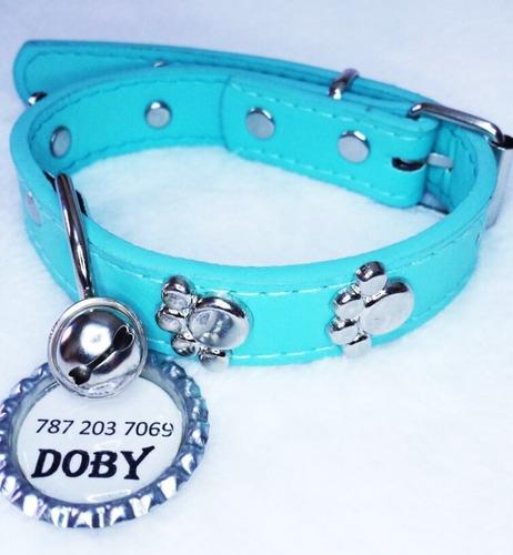 collar placa identificación personalizada cascabel mascota