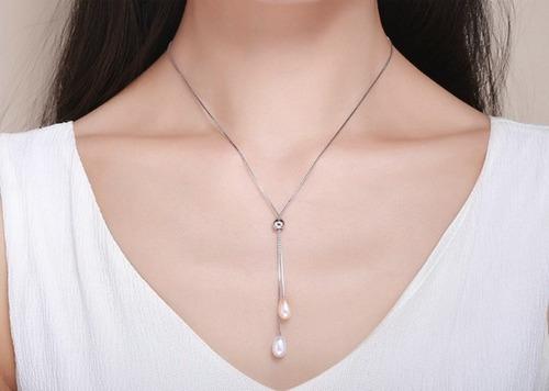 collar  plata 925 doble perla  real  elegante