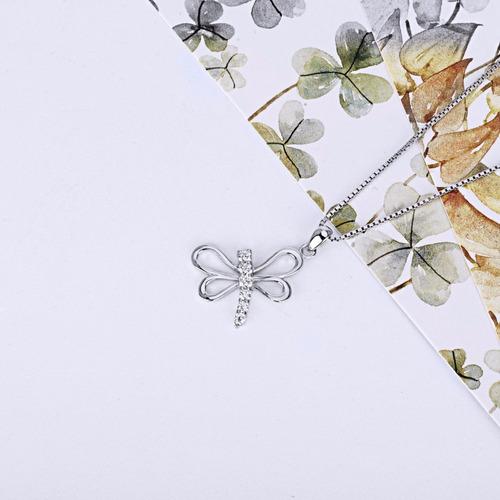 collar plata libelula blanca  joya mariposa