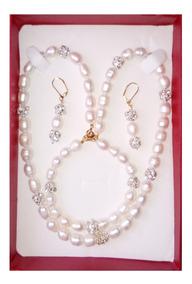 e0bb4d45734b Collar Pulsera Aretes De Perla Cultivada Tornasol A020
