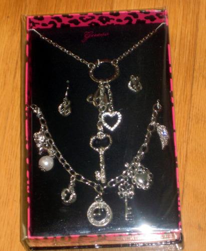 collar pulsera aretes set plateado plata regalo stock