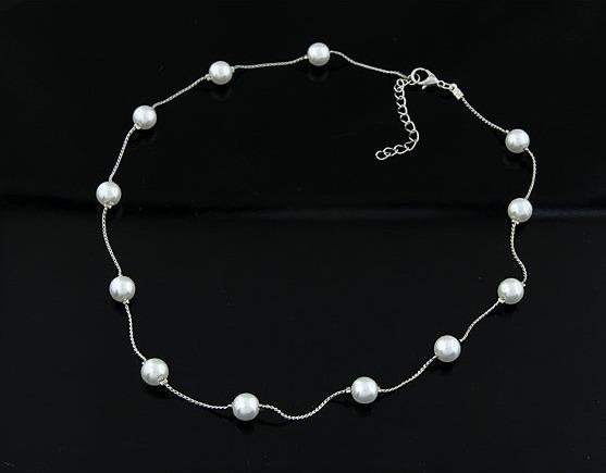 b15ab353a6d0 Collar Pulsera Y Aretes De Perlas Y Cadena Baño En Plata