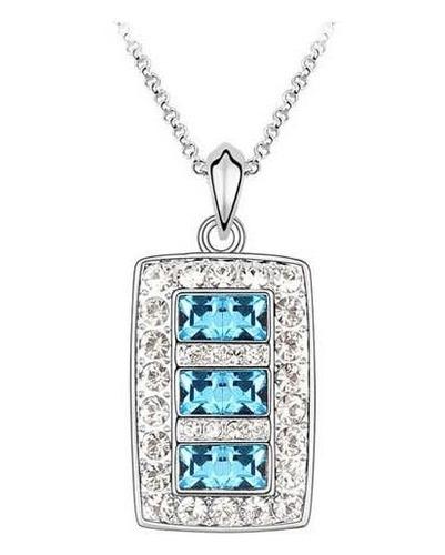 collar rectángulo plata  - cristales azules swarovski